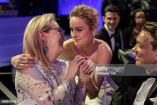 Actors Meryl Streep and Brie Larson attend The 23rd Annual Screen Actors Guild Awards at The Shrine Auditorium on January 29 2017 in Los Angeles...