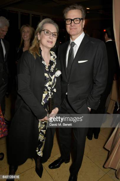 Actors Meryl Streep and host Colin Firth attend a dinner to celebrate The GCC and The Journey To Sustainable Luxury on February 24 2017 in Los...