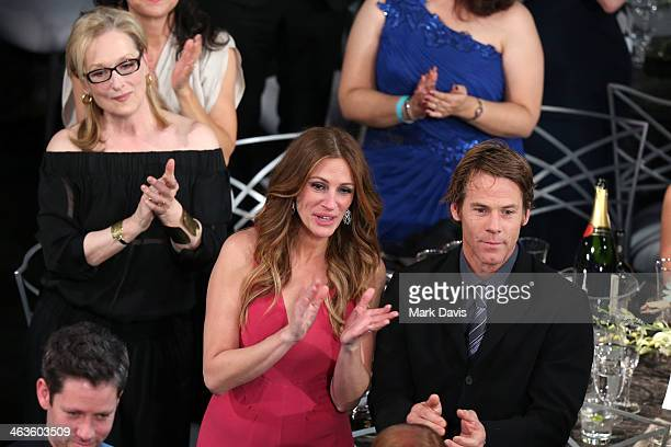 Actors Meryl Streep and Julia Roberts and Daniel Moder attend 20th Annual Screen Actors Guild Awards at The Shrine Auditorium on January 18 2014 in...