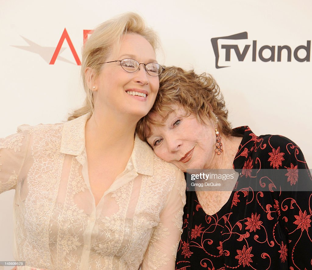 Actors <a gi-track='captionPersonalityLinkClicked' href=/galleries/search?phrase=Meryl+Streep&family=editorial&specificpeople=171097 ng-click='$event.stopPropagation()'>Meryl Streep</a> and <a gi-track='captionPersonalityLinkClicked' href=/galleries/search?phrase=Shirley+MacLaine&family=editorial&specificpeople=204788 ng-click='$event.stopPropagation()'>Shirley MacLaine</a> arrive at the 40th AFI Life Achievement Award honoring <a gi-track='captionPersonalityLinkClicked' href=/galleries/search?phrase=Shirley+MacLaine&family=editorial&specificpeople=204788 ng-click='$event.stopPropagation()'>Shirley MacLaine</a> at Sony Studios on June 7, 2012 in Los Angeles, California.