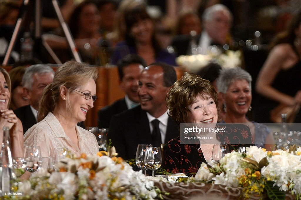 Actors Meryl Streep and Shirley MacLaine attend the 40th AFI Life Achievement Award honoring Shirley MacLaine held at Sony Pictures Studios on June 7, 2012 in Culver City, California. The AFI Life Achievement Award tribute to Shirley MacLaine will premiere on TV Land on Saturday, June 24 at 9PM