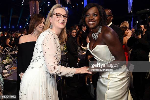 Actors Meryl Streep and Viola Davis attend the 23rd Annual Screen Actors Guild Awards Cocktail Reception at The Shrine Expo Hall on January 29 2017...