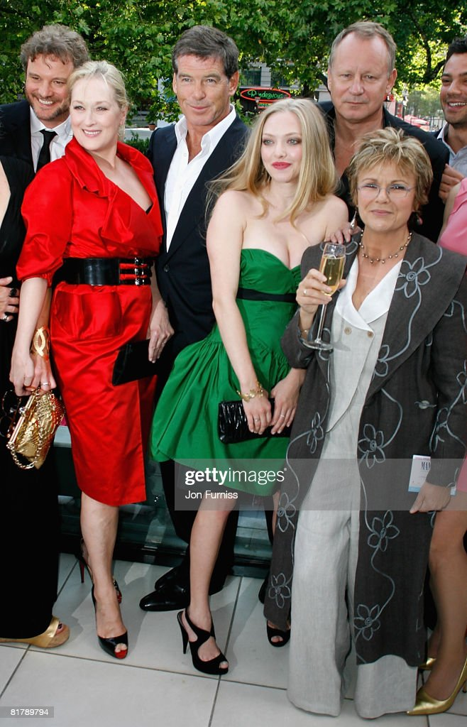 Actors Meryl Streep, Pierce Brosnan, Amanda Seyfried, Stellan Skarsgard and Julie Walters attend the Mamma Mia! The Movie world premiere held at the Odeon Leicester Square on June 30, 2008 in London, England.
