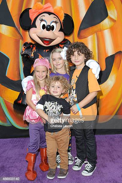 Actors Mia Talerico Ocean Maturo Mckenna Grace and August Maturo attend Disney's VIP halloween event at Disney Consumer Products Campus on October 1...