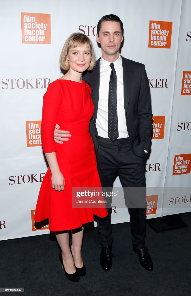 Actors <a gi-track='captionPersonalityLinkClicked' href=/galleries/search?phrase=Mia+Wasikowska&family=editorial&specificpeople=3965263 ng-click='$event.stopPropagation()'>Mia Wasikowska</a> and <a gi-track='captionPersonalityLinkClicked' href=/galleries/search?phrase=Matthew+Goode&family=editorial&specificpeople=216331 ng-click='$event.stopPropagation()'>Matthew Goode</a> attend the 'Stoker' New York Screening at The Film Society of Lincoln Center, Walter Reade Theatre on February 27, 2013 in New York City.
