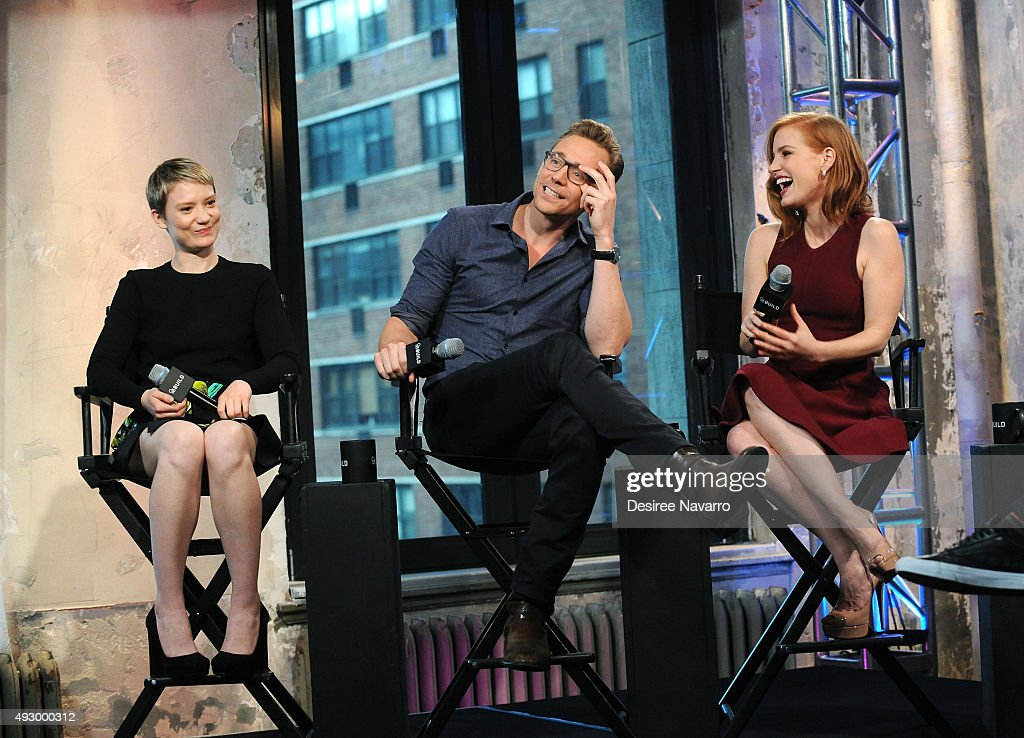 Actors Mia Wasikowska, Tom Hiddleston and Jessica Chastain attend AOL BUILD Presents 'Crimson Peak' at AOL Studios In New York on October 16, 2015 in New York City.