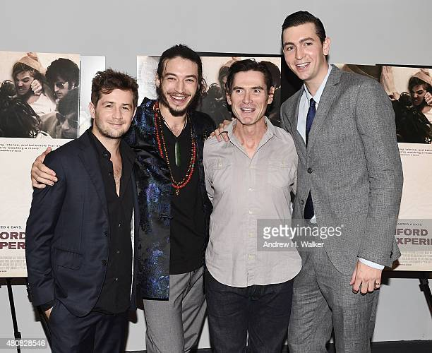 Actors Michael Angarano Ezra Miller Billy Crudup and Nicholas Braun attend the New York premiere of 'The Stanford Prison Experiment' at Chelsea Bow...