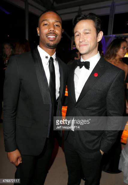 Actors Michael B Jordan and Joseph GordonLevitt attend the 2014 Vanity Fair Oscar Party Hosted By Graydon Carter on March 2 2014 in West Hollywood...