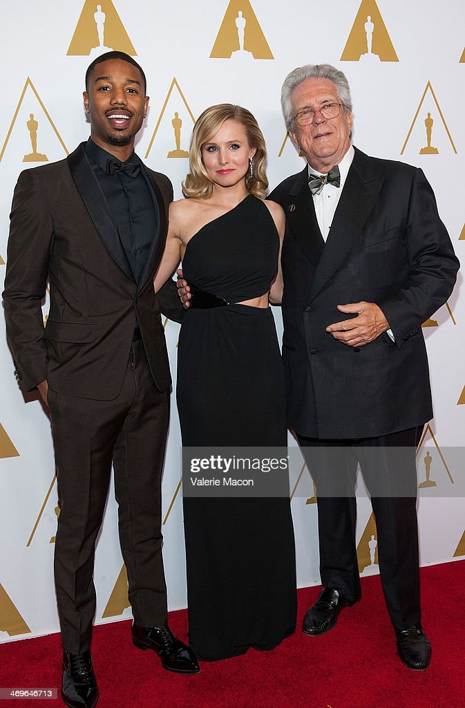 Actors Michael B. Jordan and Kristen Bell and Richard Edlund arrive at the Academy Of Motion Picture Arts And Sciences' Scientific And Technical Awards Ceremony at Beverly Hills Hotel on February 15, 2014 in Beverly Hills, California.