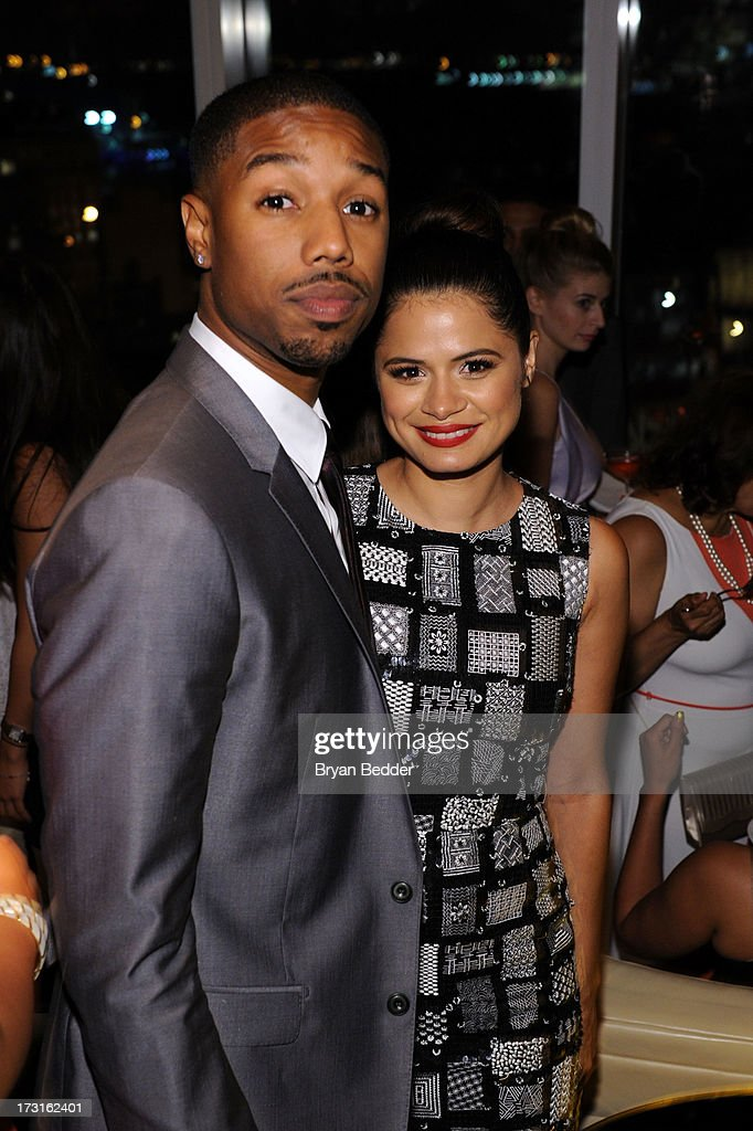 Actors Michael B. Jordan and <a gi-track='captionPersonalityLinkClicked' href=/galleries/search?phrase=Melonie+Diaz&family=editorial&specificpeople=3323742 ng-click='$event.stopPropagation()'>Melonie Diaz</a> attend the after party at the New York premiere of FRUITVALE STATION, hosted by The Weinstein Company, BET Films and CIROC Vodka on July 8, 2013 in New York City.