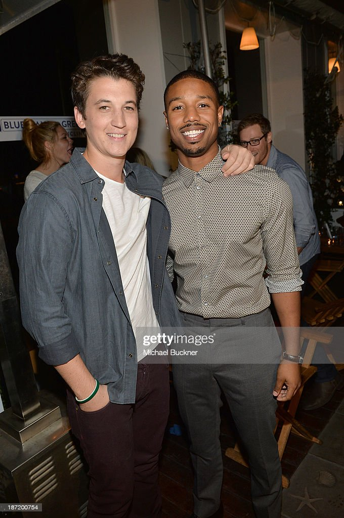 Actors <a gi-track='captionPersonalityLinkClicked' href=/galleries/search?phrase=Michael+B.+Jordan+-+Actor&family=editorial&specificpeople=608313 ng-click='$event.stopPropagation()'>Michael B. Jordan</a> (L) and <a gi-track='captionPersonalityLinkClicked' href=/galleries/search?phrase=Miles+Teller&family=editorial&specificpeople=6471673 ng-click='$event.stopPropagation()'>Miles Teller</a> attend Cotton Incorporated's Blue Jeans Go Green celebrates 1 million pieces of denim collected for recycling at SkyBar at the Mondrian Los Angeles on November 6, 2013 in West Hollywood, California.
