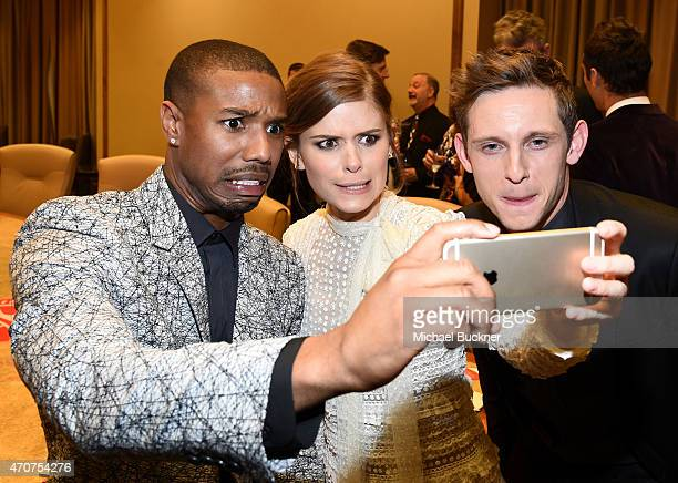 "Actors Michael B Jordan Kate Mara and Jamie Bell take a selfie at 2015 Will Rogers ""Pioneer of the Year"" Dinner Honoring Jim Gianopulos at Caesars..."