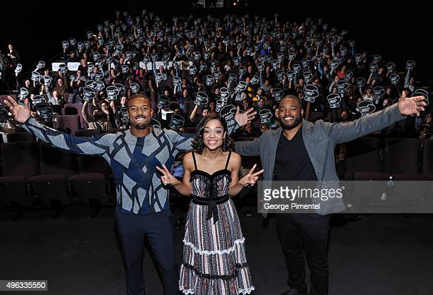 Actors Michael B Jordan Tessa Thompson and Director Ryan Coogler surprise Canadian fans at a special advanced screening of 'Creed' at TIFF Bell...