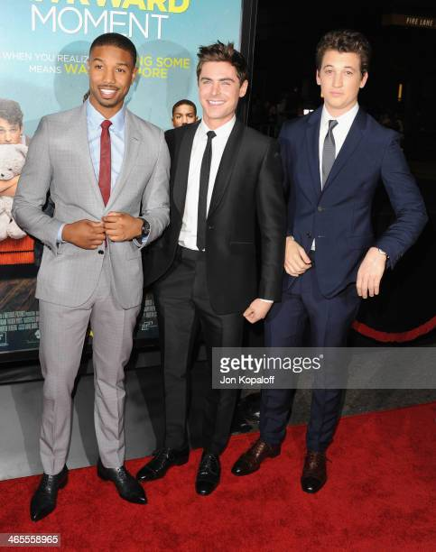Actors Michael B Jordan Zac Efron and Miles Teller arrive at the Los Angeles Premiere 'That Awkward Moment' at Regal Cinemas LA Live on January 27...