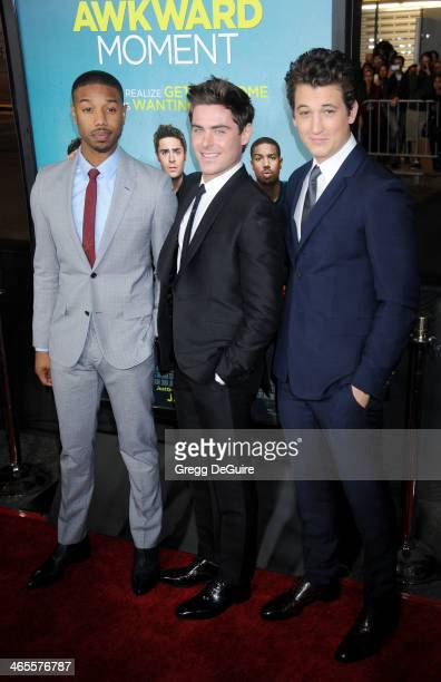 Actors Michael B Jordan Zac Efron and Miles Teller arrive to the Los Angeles premiere of 'That Awkward Moment' at Regal Cinemas LA Live on January 27...