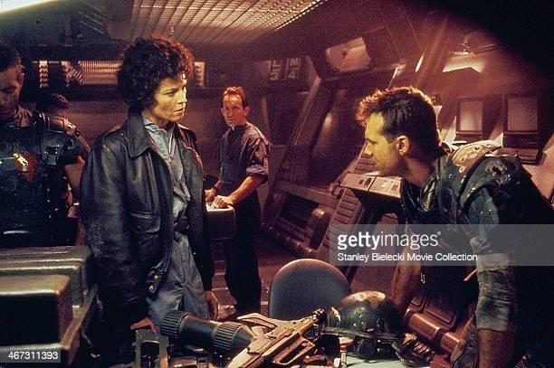 Actors Michael Biehn Sigourney Weaver Lance Henriksen and Bill Paxton in a scene from the movie 'Aliens' 1986