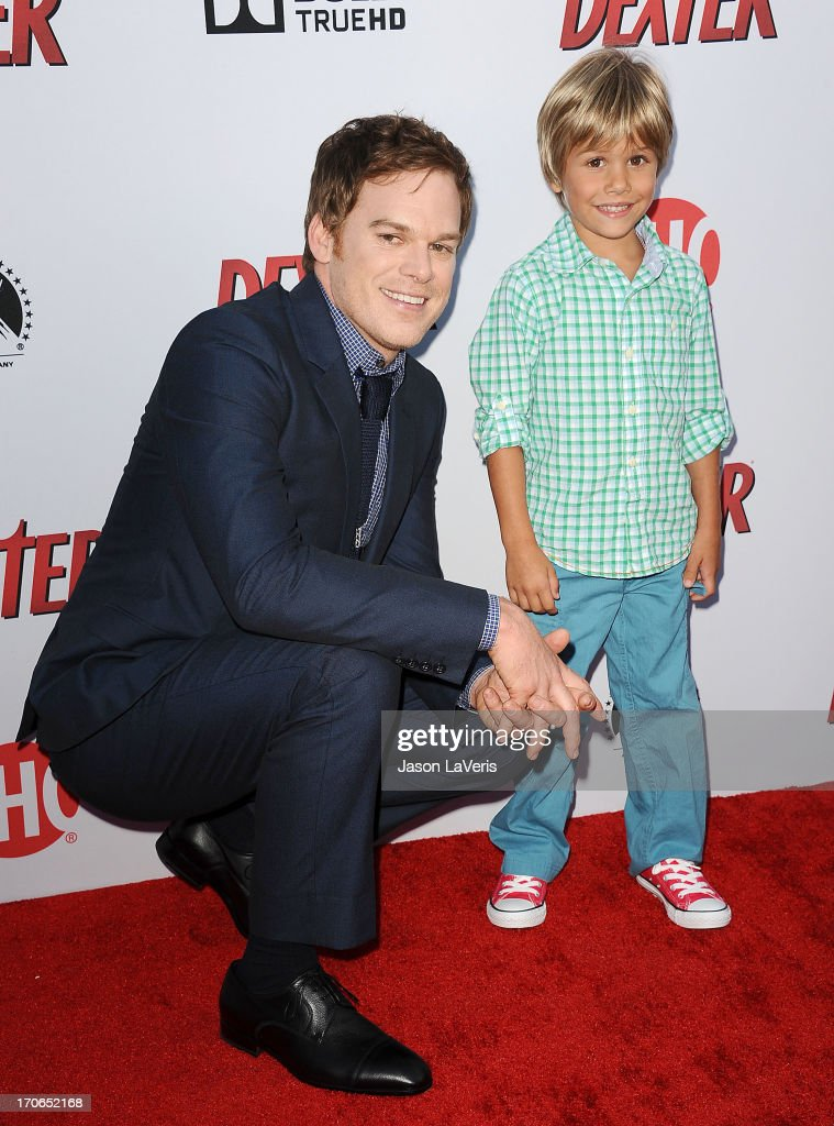 Actors Michael C. Hall and Jadon Wells attend the 'Dexter' series finale season premiere party at Milk Studios on June 15, 2013 in Hollywood, California.