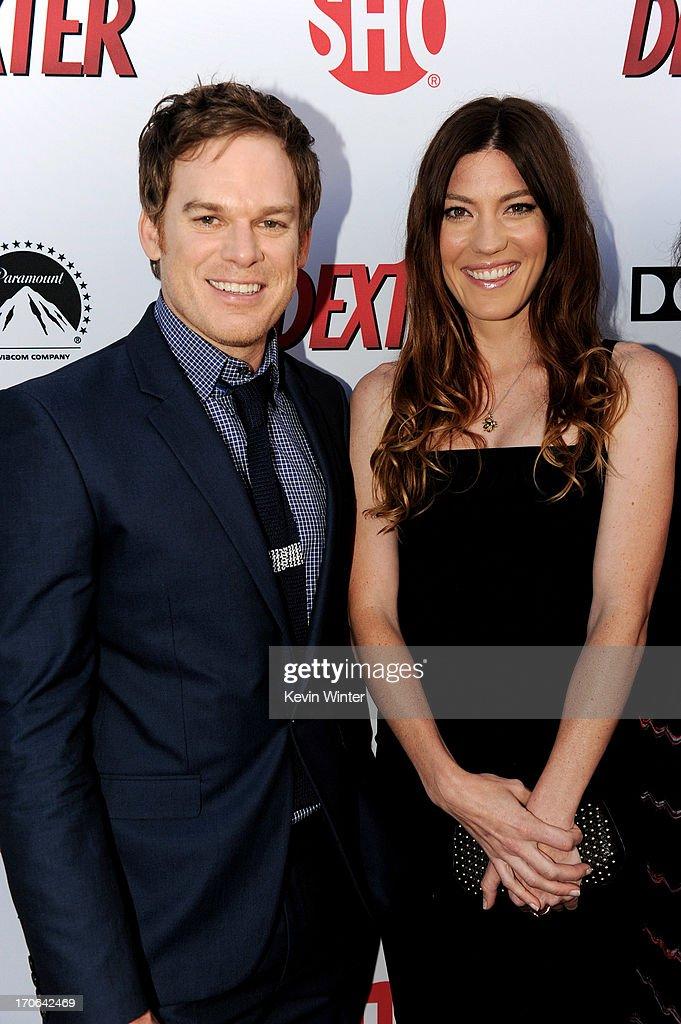 Actors Michael C. Hall (L) and Jennifer Carpenter arrive at the premiere screening of Showtime's 'Dexter' Season 8 at Milk Studios on June 15, 2013 in Los Angeles, California.