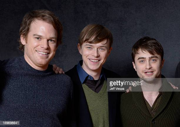 Actors Michael C Hall Dane DeHaan and Daniel Radcliffe pose for a portrait during the 2013 Sundance Film Festival at the WireImage Portrait Studio at...