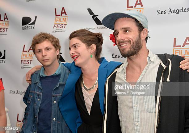 Actors Michael Cera Gaby Hoffman and director Sebastian Silva arrive at the premiere of IFC Films' 'Crystal Fairy' during the 2013 Los Angeles Film...