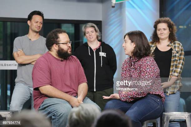 Actors Michael Cruz Kayne Zach Cherry Shannon O'Neill Abra Tabak and Chelsea Clarke members of the Upright Citizens Brigade Theatre visit Build to...