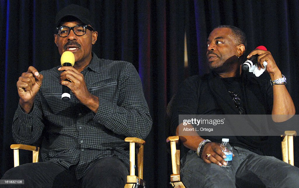 Actors Michael Dorn and LeVar Burton attend Creation Entertainment's Grand Slam Convention: The Star Trek And Sci-Fi Summit held at Burbank Marriott Convention Center on February 16, 2013 in Burbank, California.