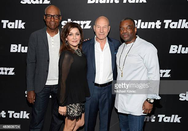Actors Michael Dorn Marina Sirtis Patrick Stewart and LeVar Burton attend the STARZ' 'Blunt Talk' series premiere on August 10 2015 in Los Angeles...