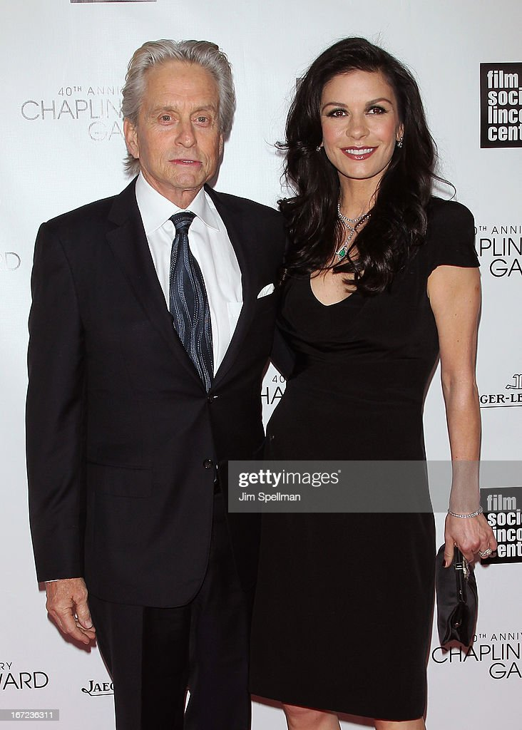 Actors <a gi-track='captionPersonalityLinkClicked' href=/galleries/search?phrase=Michael+Douglas&family=editorial&specificpeople=171111 ng-click='$event.stopPropagation()'>Michael Douglas</a> (L) and <a gi-track='captionPersonalityLinkClicked' href=/galleries/search?phrase=Catherine+Zeta+Jones&family=editorial&specificpeople=167111 ng-click='$event.stopPropagation()'>Catherine Zeta Jones</a> attend the 40th Anniversary Chaplin Award Gala at Avery Fisher Hall at Lincoln Center for the Performing Arts on April 22, 2013 in New York City.