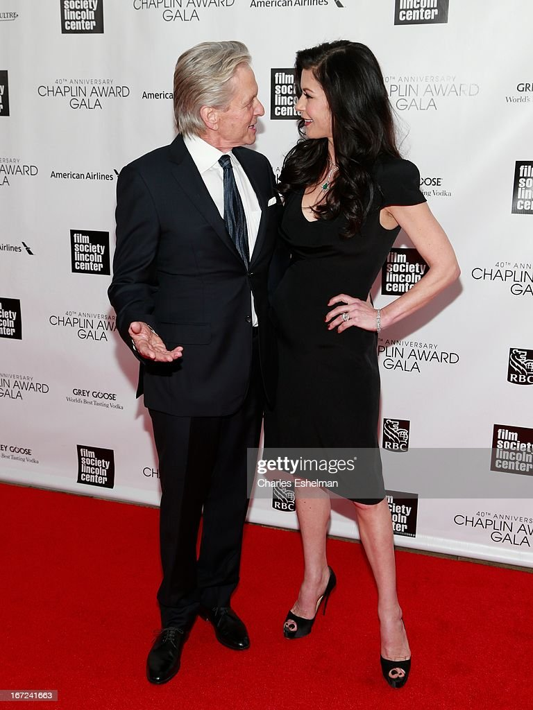 Actors <a gi-track='captionPersonalityLinkClicked' href=/galleries/search?phrase=Michael+Douglas&family=editorial&specificpeople=171111 ng-click='$event.stopPropagation()'>Michael Douglas</a> and <a gi-track='captionPersonalityLinkClicked' href=/galleries/search?phrase=Catherine+Zeta+Jones&family=editorial&specificpeople=167111 ng-click='$event.stopPropagation()'>Catherine Zeta Jones</a> attend the 40th Anniversary Chaplin Award Gala at Avery Fisher Hall at Lincoln Center for the Performing Arts on April 22, 2013 in New York City.