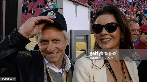 Actors Michael Douglas and Catherine ZetaJones arrive at Levi Stadium for Super Bowl 50 between the Carolina Panthers and the Denver Broncos in Santa...