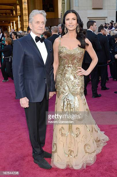 Actors Michael Douglas and Catherine ZetaJones arrive at the Oscars held at Hollywood Highland Center on February 24 2013 in Hollywood California