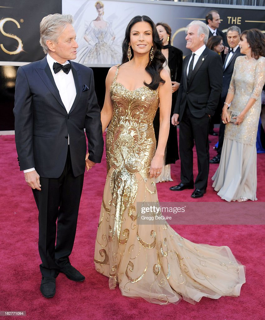 Actors Michael Douglas and Catherine Zeta-Jones arrive at the Oscars at Hollywood & Highland Center on February 24, 2013 in Hollywood, California.