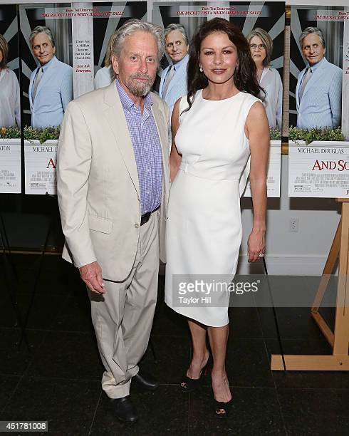 Actors Michael Douglas and Catherine ZetaJones attend the 'And So It Goes' premiere at Easthampton Guild Hall on July 6 2014 in East Hampton New York