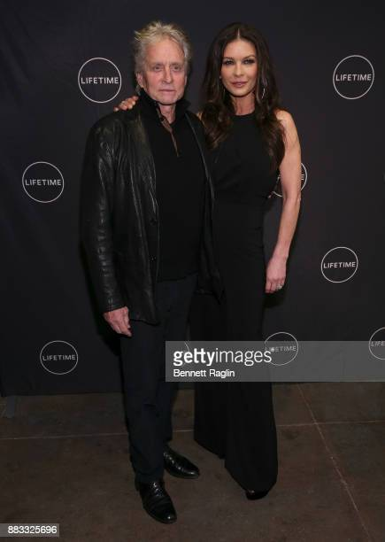 Actors Michael Douglas and Catherine ZetaJones attend the Lifetime Luminaries screening of 'Cocaine Godmother The Griselda Blanco Story' at NeueHouse...