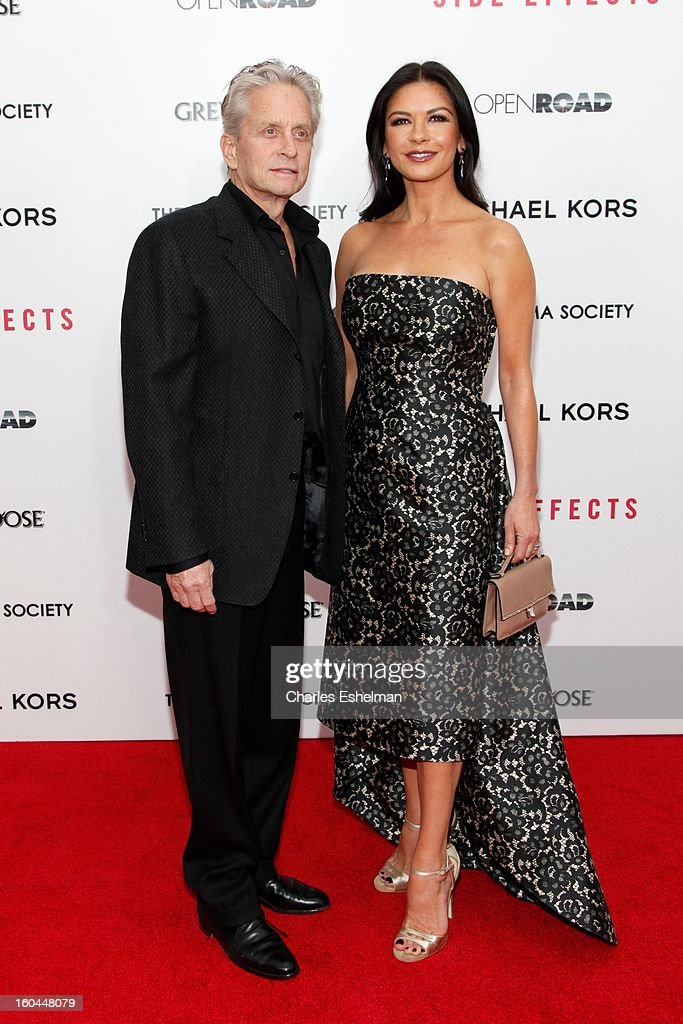 Actors <a gi-track='captionPersonalityLinkClicked' href=/galleries/search?phrase=Michael+Douglas&family=editorial&specificpeople=171111 ng-click='$event.stopPropagation()'>Michael Douglas</a> and Catherine Zeta-Jones attend the Open Road, The Cinema Society & Michael Kors premiere of 'Side Effects' at AMC Loews Lincoln Square on January 31, 2013 in New York City.