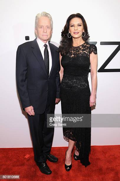 Actors Michael Douglas and Catherine ZetaJones attend the opening of the Mica and Ahmet Ertegun Atrium at Jazz at Lincoln Center on December 17 2015...