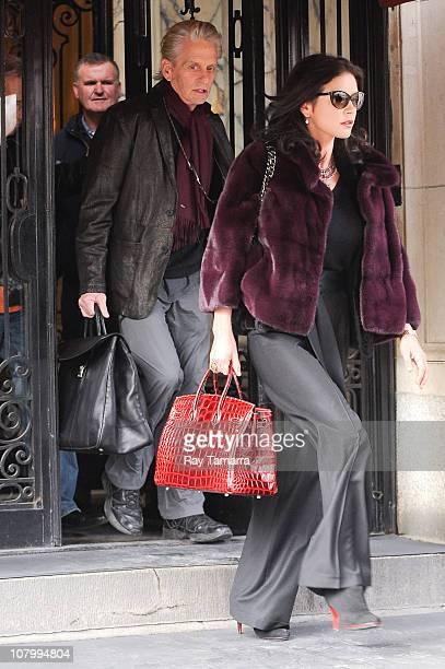 Actors Michael Douglas and Catherine ZetaJones leave their apartment on January 11 2011 in New York City