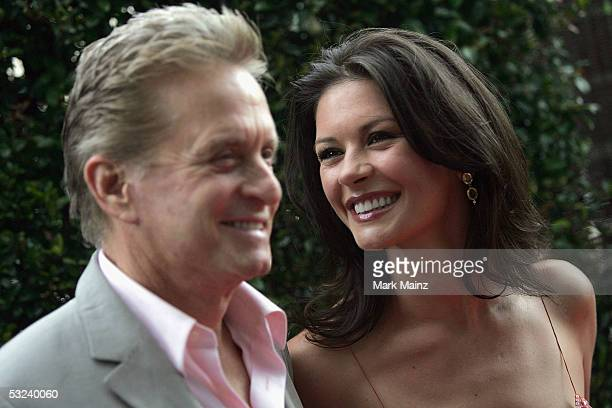 Actors Michael Douglas and his wife Catherine ZetaJones attend the Premiere of HBO's 'A FatherA SonOnce Upon A Time in Hollywood' July 14 2005 at the...