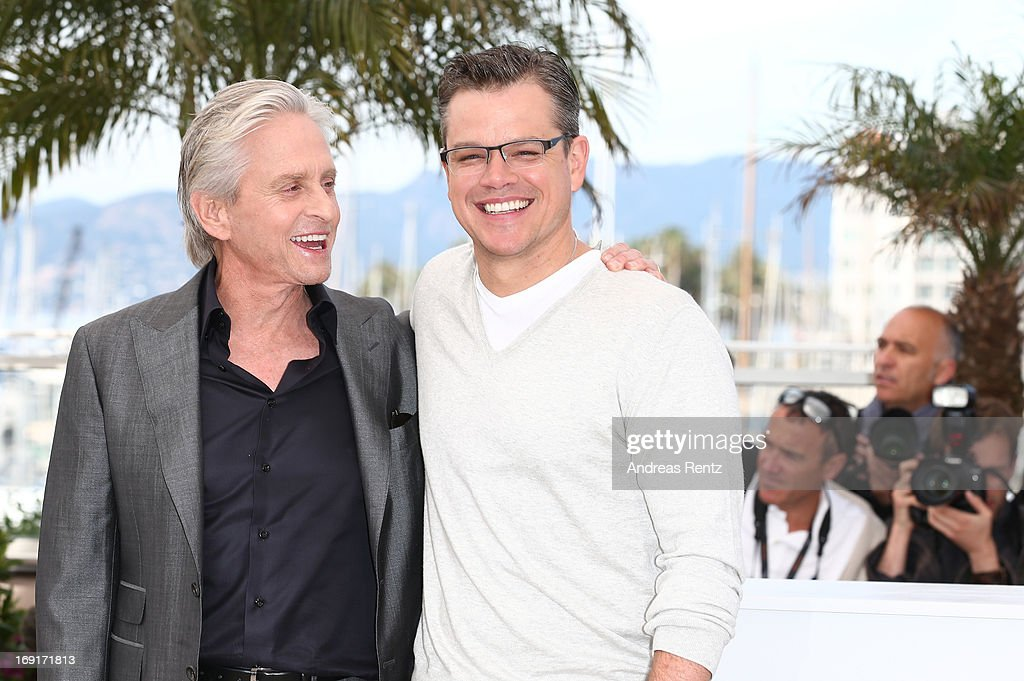Actors <a gi-track='captionPersonalityLinkClicked' href=/galleries/search?phrase=Michael+Douglas&family=editorial&specificpeople=171111 ng-click='$event.stopPropagation()'>Michael Douglas</a> and <a gi-track='captionPersonalityLinkClicked' href=/galleries/search?phrase=Matt+Damon&family=editorial&specificpeople=202093 ng-click='$event.stopPropagation()'>Matt Damon</a> (R) attend the 'Behind The Candelabra' Photocall during The 66th Annual Cannes Film Festival at the Palais des Festivals on May 21, 2013 in Cannes, France.