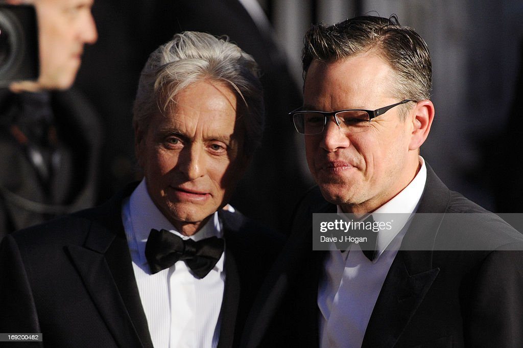 Actors <a gi-track='captionPersonalityLinkClicked' href=/galleries/search?phrase=Michael+Douglas&family=editorial&specificpeople=171111 ng-click='$event.stopPropagation()'>Michael Douglas</a> and <a gi-track='captionPersonalityLinkClicked' href=/galleries/search?phrase=Matt+Damon&family=editorial&specificpeople=202093 ng-click='$event.stopPropagation()'>Matt Damon</a> attend the 'Behind The Candelabra' premiere during The 66th Annual Cannes Film Festival at Theatre Lumiere on May 21, 2013 in Cannes, France.