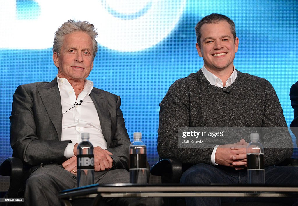 Actors Michael Douglas and Matt Damon speak about the new HBO film 'Behind The Candelabra' during the HBO Winter 2013 TCA Panel at The Langham Huntington Hotel and Spa on January 4, 2013 in Pasadena, California.