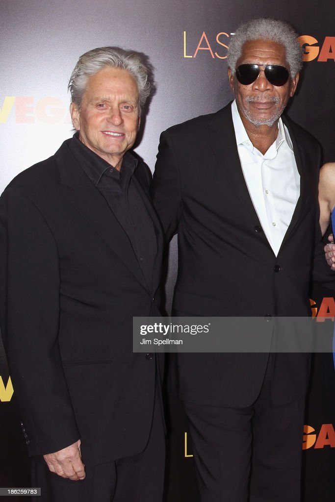 Actors <a gi-track='captionPersonalityLinkClicked' href=/galleries/search?phrase=Michael+Douglas&family=editorial&specificpeople=171111 ng-click='$event.stopPropagation()'>Michael Douglas</a> and <a gi-track='captionPersonalityLinkClicked' href=/galleries/search?phrase=Morgan+Freeman&family=editorial&specificpeople=169833 ng-click='$event.stopPropagation()'>Morgan Freeman</a> attend the 'Last Vegas' premiere at the Ziegfeld Theater on October 29, 2013 in New York City.