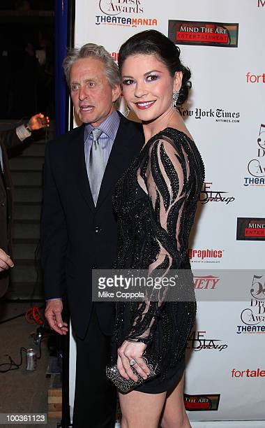 Actors Michael Douglas and wife Catherine ZetaJones arrive at the 55th Annual Drama Desk Awards at the FH LaGuardia Concert Hall at Lincoln Center on...