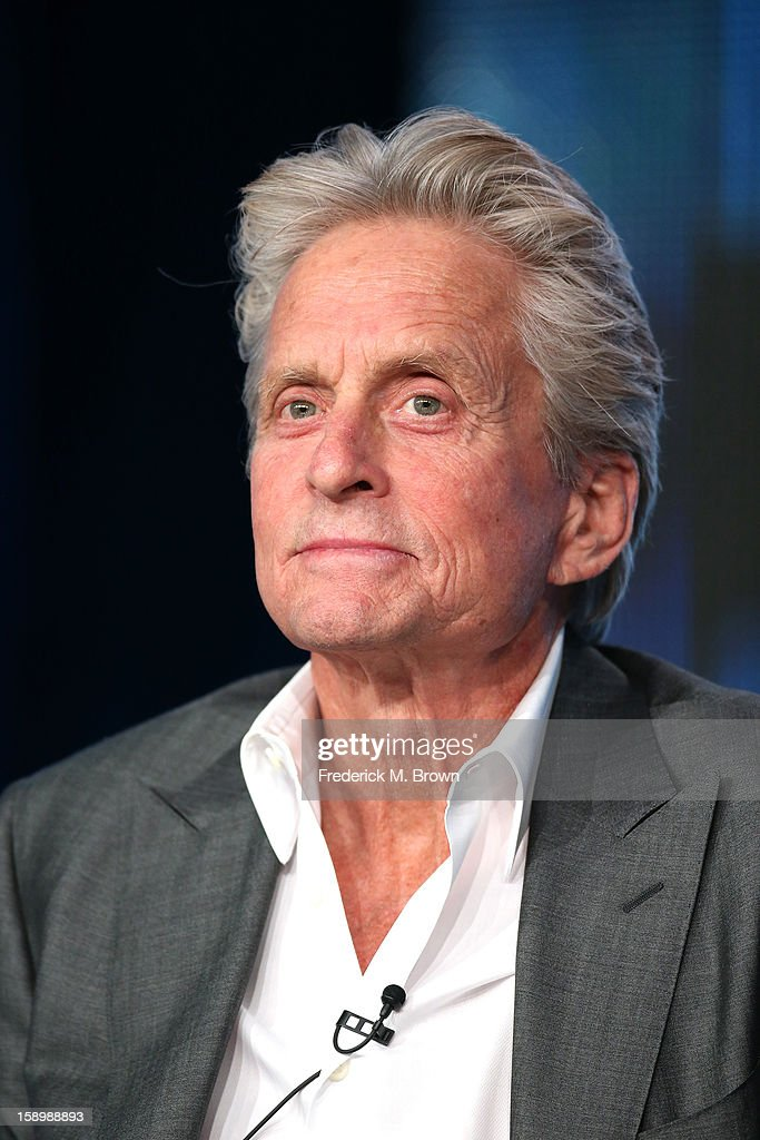 Actors Michael Douglas speaks onstage during the 'Behind the Candelabra' panel discussion at the HBO portion of the 2013 Winter TCA Tourduring 2013 Winter TCA Tour - Day 1 at Langham Hotel on January 4, 2013 in Pasadena, California.