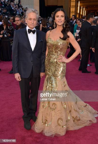 Actors Michael Douglous and Catherine ZetaJones arrive at the Oscars at Hollywood Highland Center on February 24 2013 in Hollywood California
