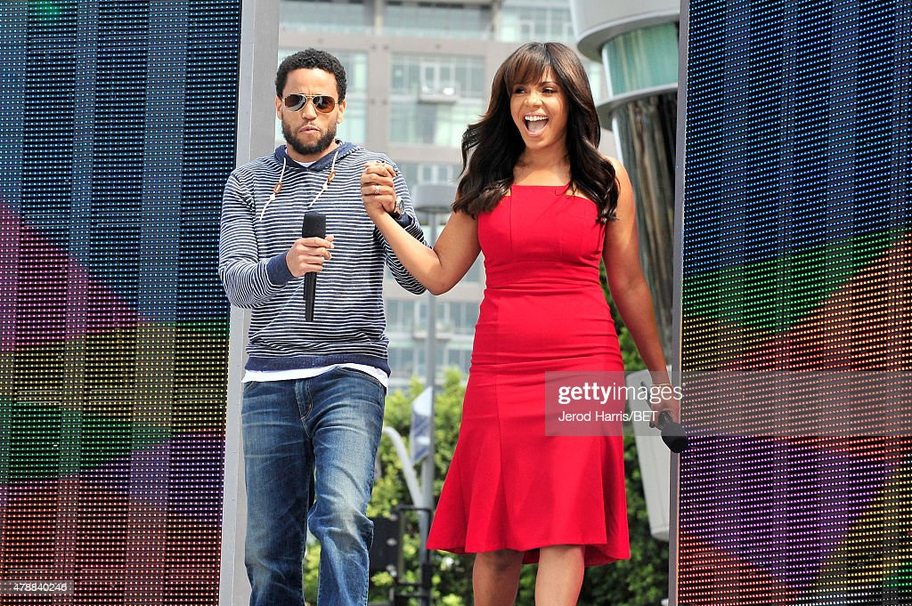 Actors Michael Ealy and Sanaa Lathan attend 106 Park presented by Coke during the 2015 BET Experience at Nokia Plaza on June 27 2015 in Los Angeles...