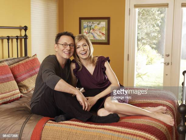 Actors Michael Emerson and Carrie Preston pose for a portrait session in their Los Angeles home on February 1 Los Angeles CA Published Imaged On...