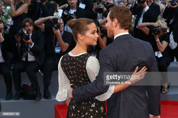 Actors Michael Fassbender and Alicia Vikander attend the premiere of 'The Lights Between Oceans' during the 73rd Venice Film Festival at Sala Grande...