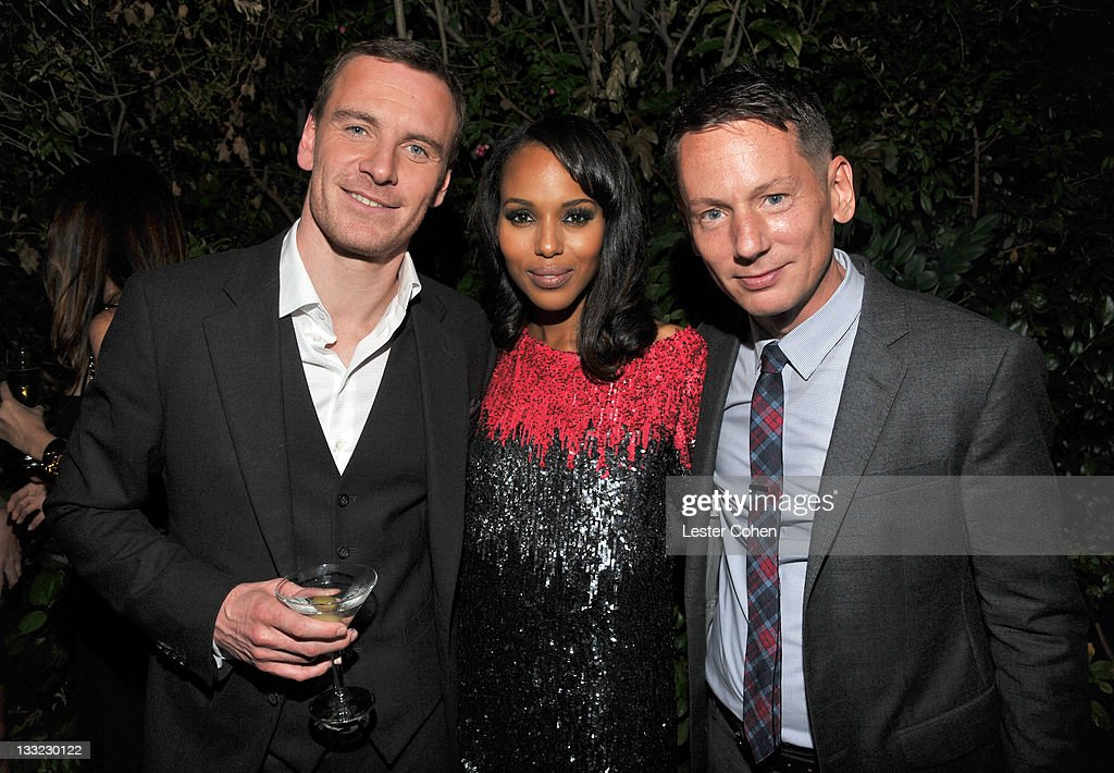 Actors Michael Fassbender and Kerry Washington and EditorInChief of GQ Magazine Jim Nelson attend GQ's 2011 'Men of the Year' Party held at Chateau...