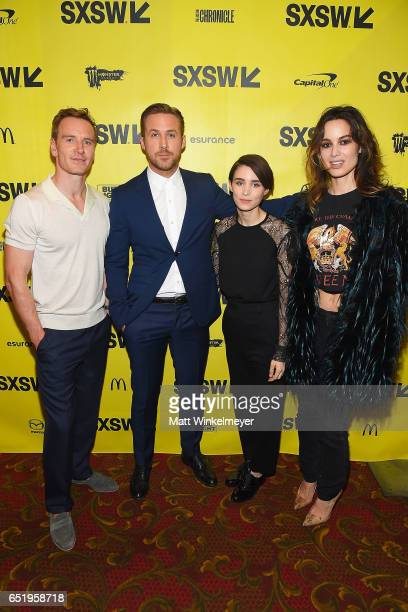 Actors Michael Fassbender Ryan Gosling Rooney Mara and Berenice Marlohe attend the 'Song To Song' premiere 2017 SXSW Conference and Festivals at...